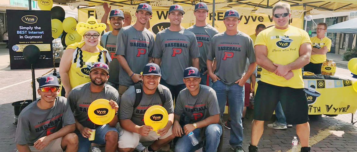 Panhandle State Baseball team poses at a Vyve event