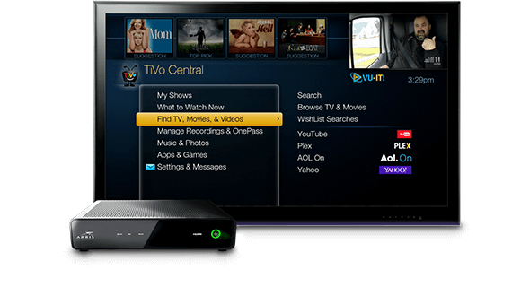 TV with box showing TiVo Whole Home screen
