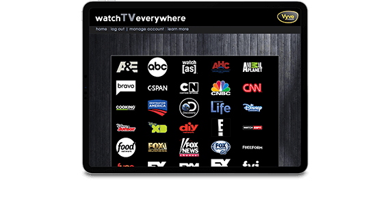 Tablet showing WatchTVEverywhere screen